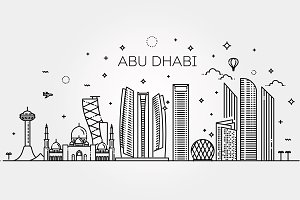 Abu Dhabi city line art Vector illus
