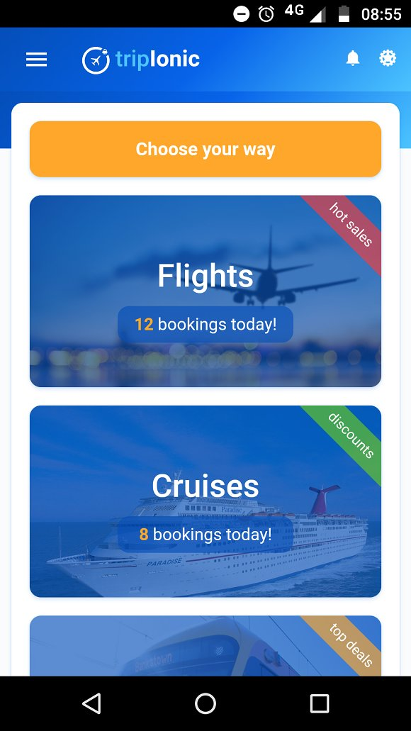 Ionic 3 trip travel booking theme