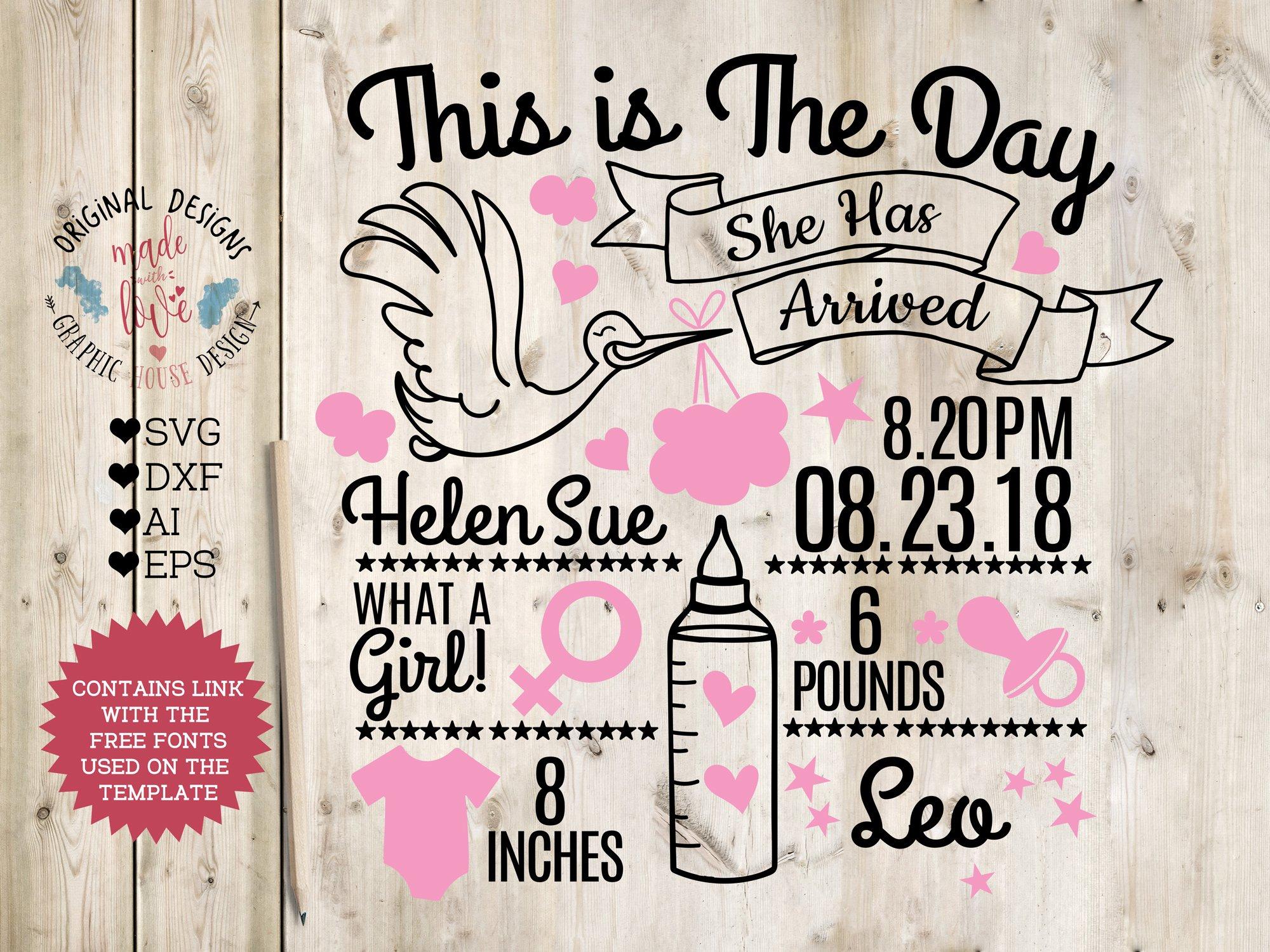 baby girl birth announcement chart illustrations creative market
