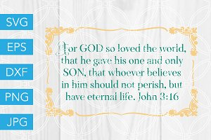 John 3 16 Scripture SVG Cut File