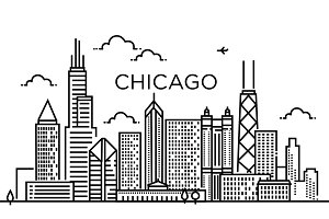 Linear banner of Chicago city