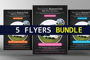5 Simple Real Estate Flyers Bundle