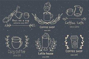 Doodle coffee shop logo creator