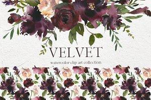 Velvet - Watercolor Floral Clip Art