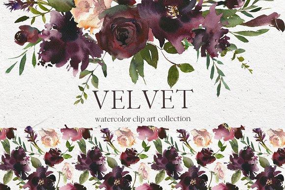 Velvet Watercolor Floral Clip Art
