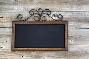 Empty chalkboard on wood