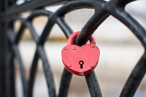 Heart shaped love padlock