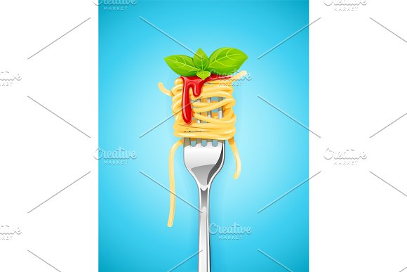 Spaghetti at fork with basil and sauce.