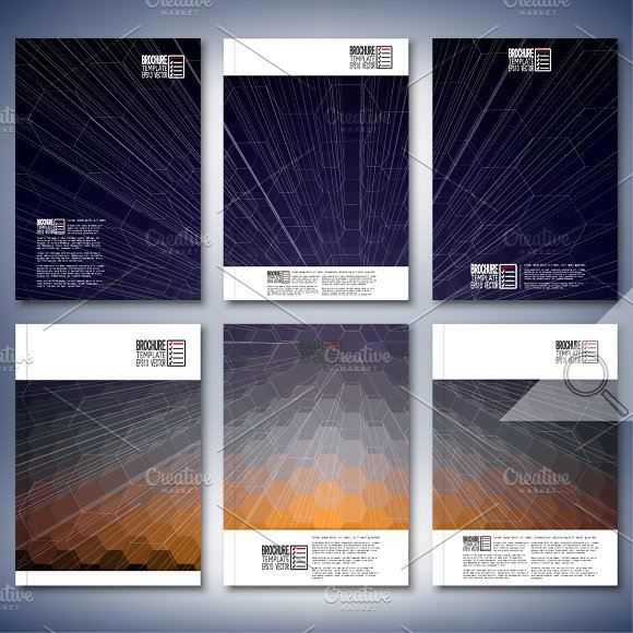 Hexagonal brochure or flyer patterns