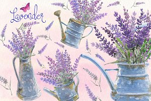 Lavender watercolor clip art set