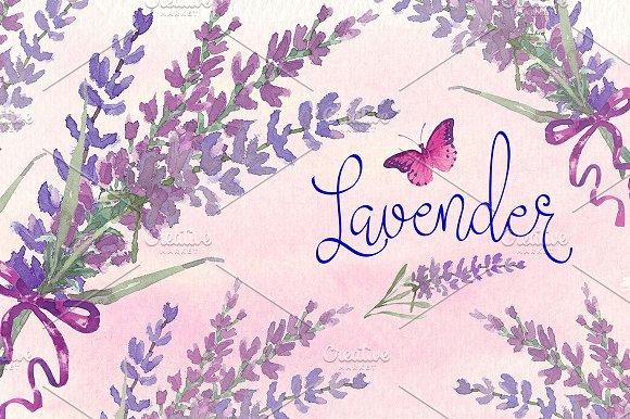 Lavender watercolor clip art set