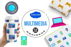 Multimedia icons set, cartoon style