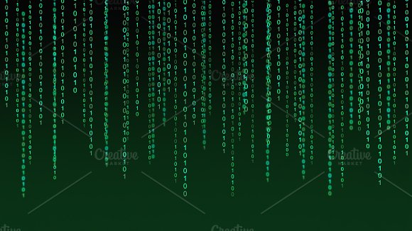 01 or binary data on the computer screen isolated on green background, 3d illustration
