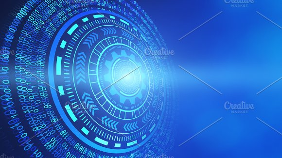 Abstract technology circles. HUD, graphic design isolated on futuristic blue background, 3d illustration