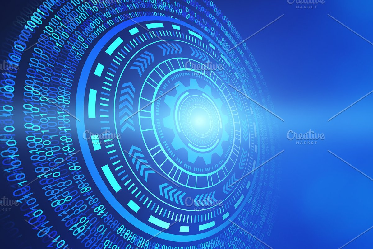 Abstract Technology Circles Hud Graphic Design Isolated On Futuristic Blue Background 3d Illustration
