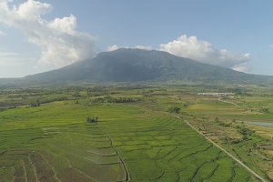 Mountain valley with farmlands in the Philippines.