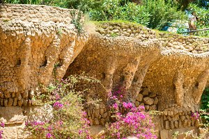 Columns in colonnade of Park Guell