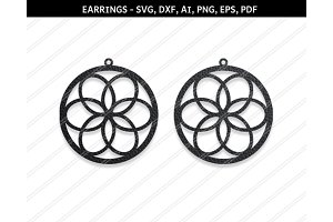 Floral earrings svg,dxf,eps,png,pdf