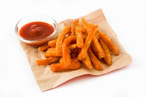 Sweet potato fries and ketchup sauce