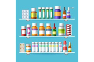 Medication shelves for drugstore