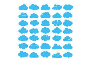 Blue cartoon clouds set