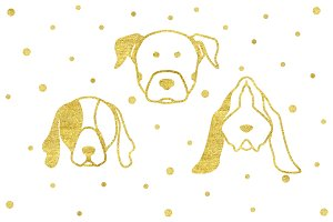 Bundle of 3 gold dog head