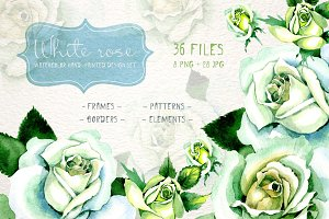 White rose watercolor PNG flower set