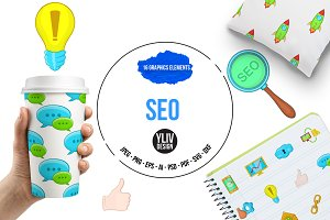 Seo icons set, cartoon style