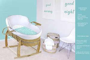Wicker Baby Bassinet Mock Up