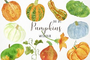 Watercolor Pumpkins Clipart