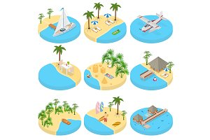 Beach Vacation Set 3d Isometric