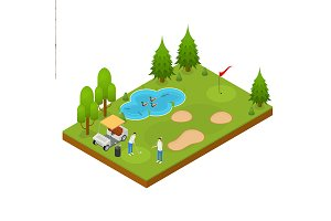 Golf Composition Concept 3d