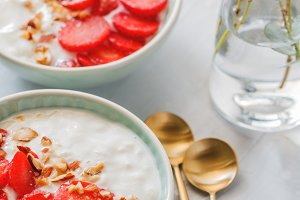 Close-up of breakfast bowls