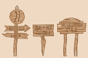 27 Wooden Sign & Arrow Vector