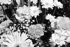Floral Centerpiece in Black  White