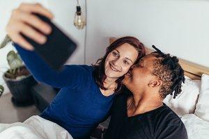 Romantic multiracial couple