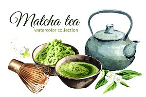 Matcha tea. Watercolor collection