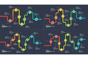 Seven-ten steps timeline or milestone infographic charts.