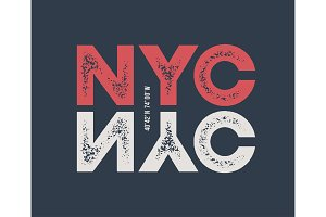 NYC t-shirt and apparel design with textured lettering.