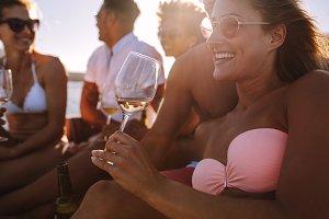 Woman enjoying a boat party