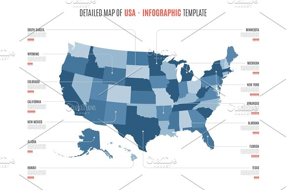 Detailed Map Of Usa.Detailed Map Of United States Of America Vector Template For In