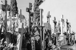 Cemetery Detail in Black and White