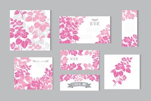 Pink Dogrose Floral Cards