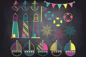 Chalkboard Nautical Clip Art