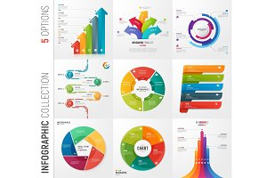 Infographic collection of 5 options vector templates