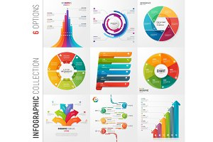 Infographic collection of 6 options vector templates for present
