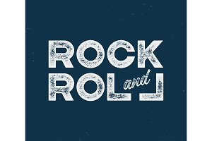 Rock and roll t-shirt and apparel design with with textured lett