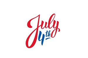 July Fourth. Lettering logo for USA Independence Day celebration