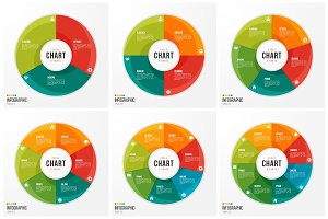 Cycle chart infographic templates with 3 4 5 6 7 8 parts, option
