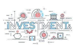 Investment, strategy, profit, capital, growth, savings thin line